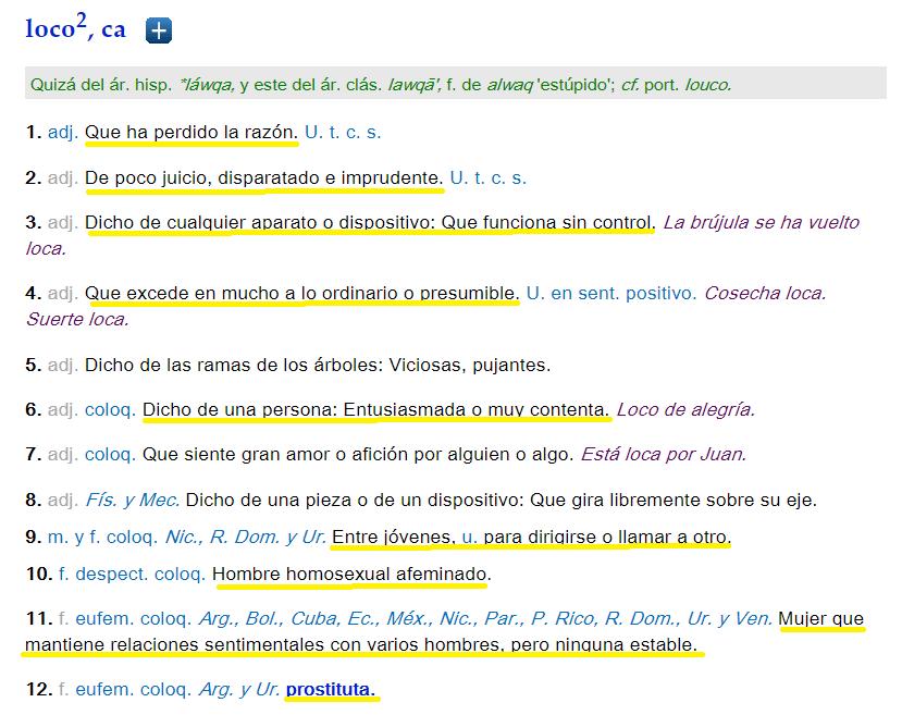 """Imagen de la página web de la RAE en la que aparece la definición de """"loco"""" y resaltada en amarillo todas las definiciones que resultan frivolizadoras de nuestras realidades"""